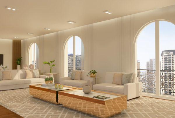 Living de apartamento na rua maranhao com amplas janelas