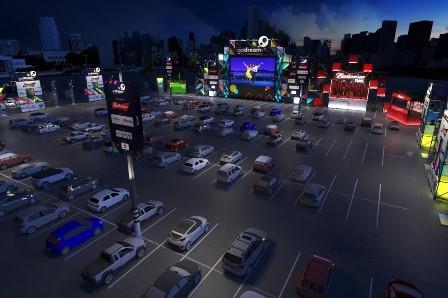 drive-in no pacaembu - imagem dos carros em frente ao telão